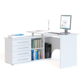 Компьютерный стол, 1400 × 1270 × 750 мм, левый, цвет белый