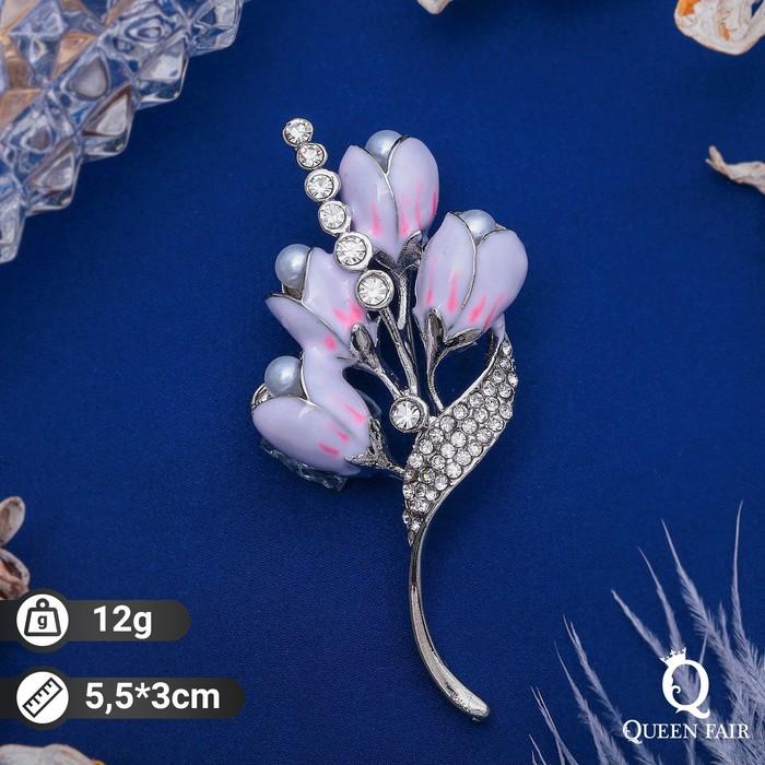 """Брошь """"Цветы ландыши"""", цвет бело-розовый в серебре - фото 274888610"""
