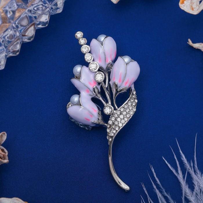 """Брошь """"Цветы ландыши"""", цвет бело-розовый в серебре - фото 274888612"""