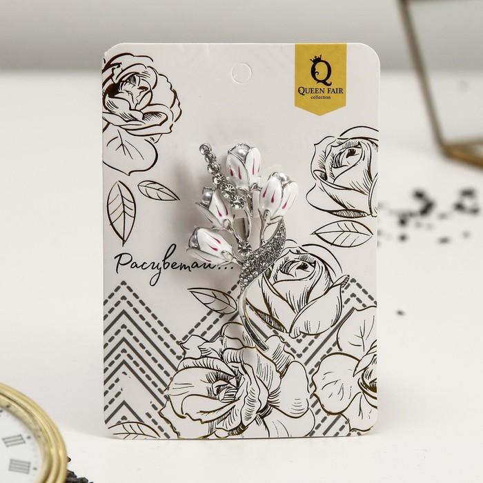 """Брошь """"Цветы ландыши"""", цвет бело-розовый в серебре - фото 274888613"""