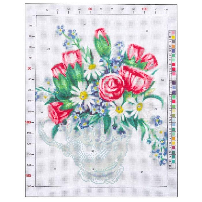 Канва для вышивания с рисунком «Весенний букет», 28 х 37 см