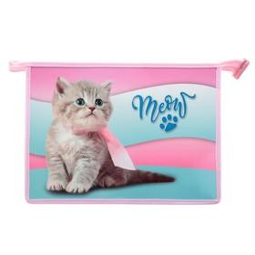 Папка для тетрадей А4, молния сверху, пластик/ламинированный картон, многоуровневый конгрев, ПМ-А4-229, «Чудо котёнок»