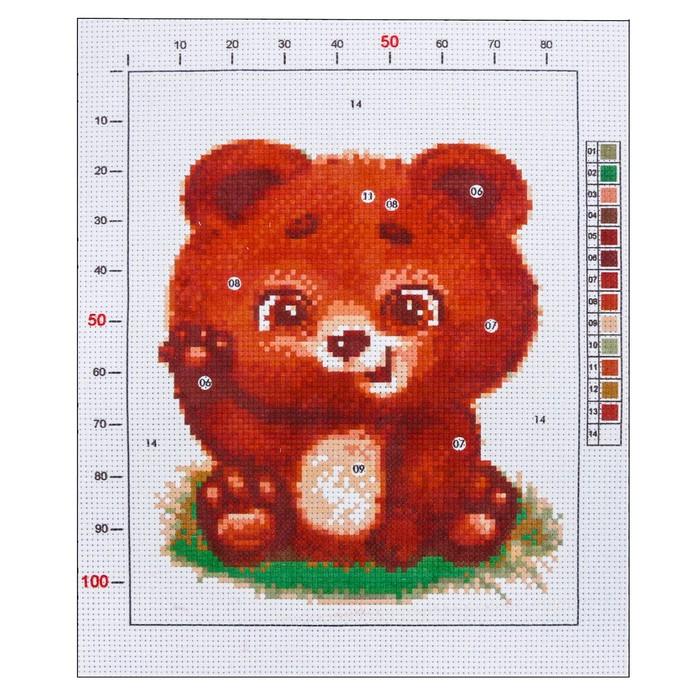 Канва для вышивания с рисунком «Мишутка», 20 х 25 см - фото 692635