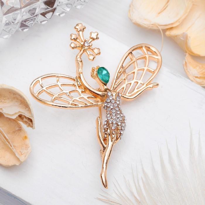 """Брошь """"Ангел"""" лесной, цвет бело-изумрудный в золоте - фото 504810379"""