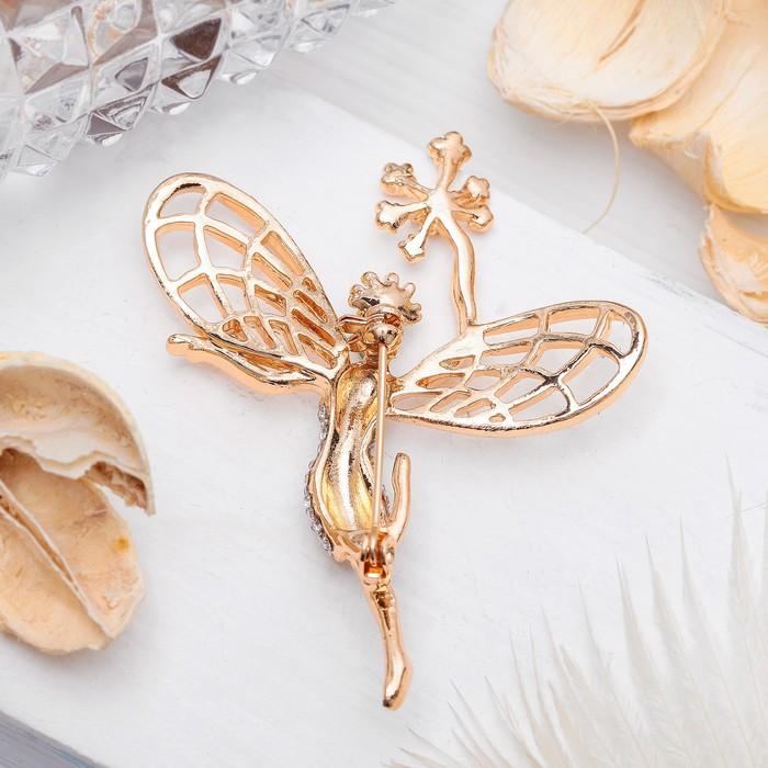 """Брошь """"Ангел"""" лесной, цвет бело-изумрудный в золоте - фото 504810380"""