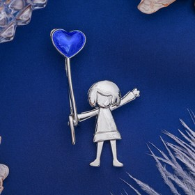 """Brooch """"Girl with ball"""", color blue silver"""