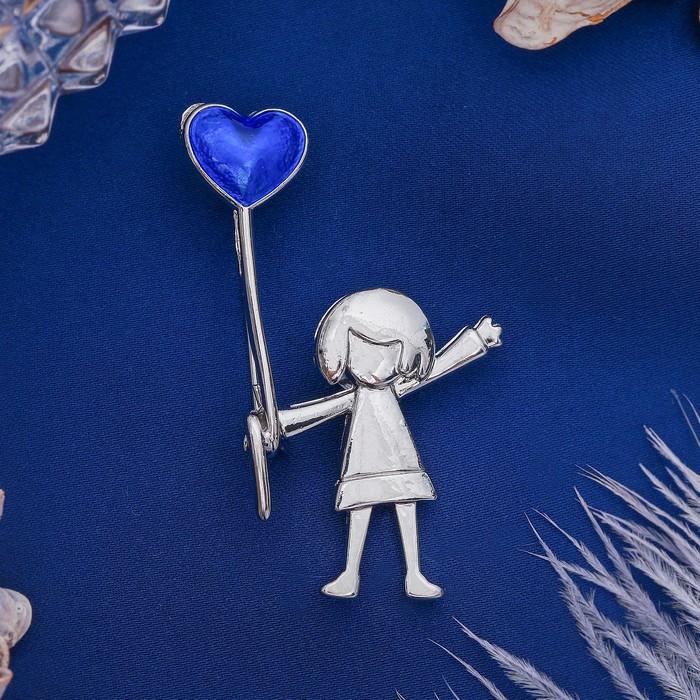 """Брошь """"Девочка с шариком"""", цвет синий в серебре"""