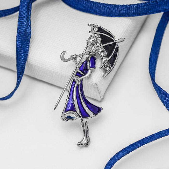 """Брошь """"Девушка с зонтом"""", цвет сине-черный в серебре - фото 245323667"""