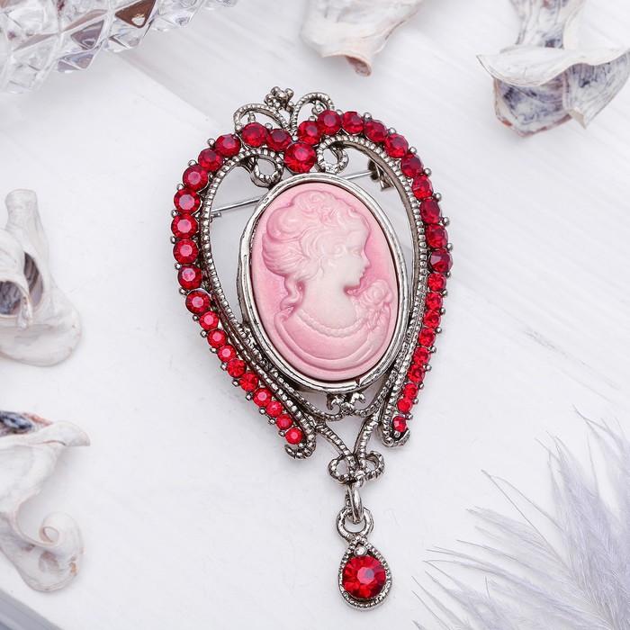 """Брошь """"Камея"""" капля, цвет красно-розовый в чернёном серебре"""
