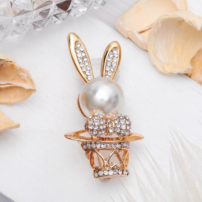 """Брошь """"Кролик"""" в шляпе, цвет белый в золоте"""