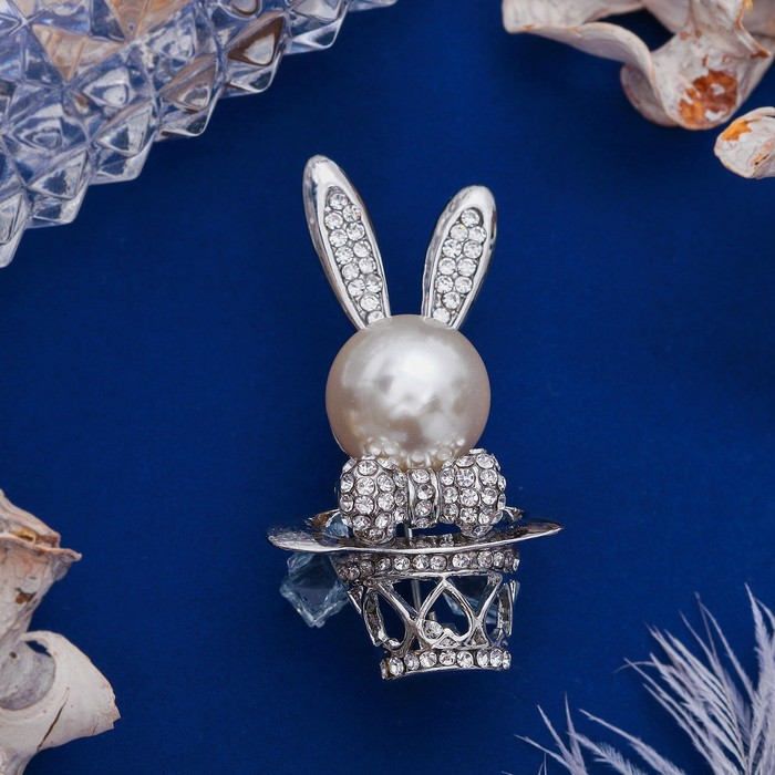 """Брошь """"Кролик пасхальный"""" в шляпе, цвет белый в серебре - фото 298286438"""