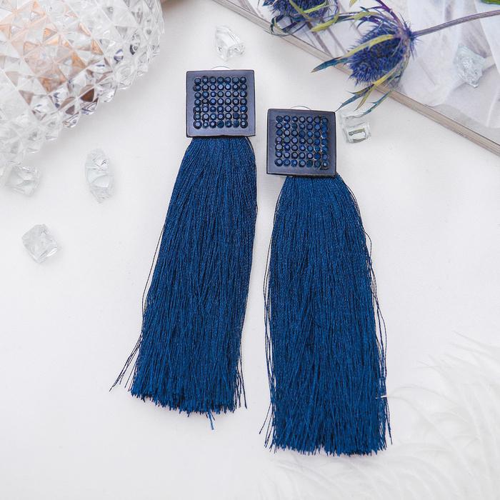 """Серьги """"Кисти"""" изыск, объёмные, цвет тёмно-синий в чёрном металле"""