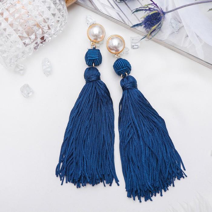 """Серьги """"Кисти"""" изыск, двойное плетение, цвет бело-синий в золоте - фото 797974092"""