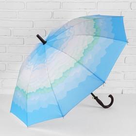Зонт - трость полуавтоматический «Горы», 10 спиц, R = 49 см. цвет голубой