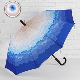 Зонт - трость полуавтоматический «Горы», 10 спиц, R = 49 см, цвет бежевый/синий