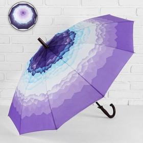 Зонт - трость полуавтоматический «Горы», 10 спиц, R = 49 см, цвет сиреневый