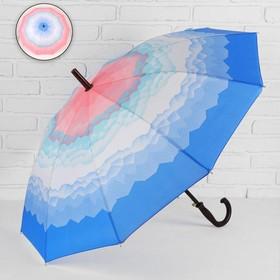 Зонт - трость полуавтоматический «Горы», 10 спиц, R = 49 см, цвет розовый/голубой