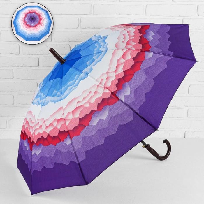 Зонт - трость полуавтоматический «Горы», 10 спиц, R = 49 см, цвет фиолетовый МИКС