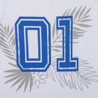 """Футболка для мальчика """"01"""", белая, р-р 30 (98-104см) 3-4г., 100% хлопок - фото 105484982"""