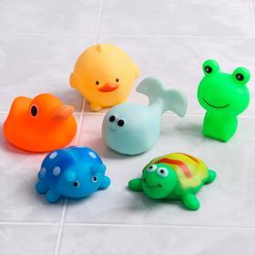 Набор резиновых игрушек для игры в ванной «Весёлые друзья», 6 шт.