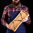 """Тарелка для закусок """"Хамон"""", 40 х 20 см, массив черешни"""