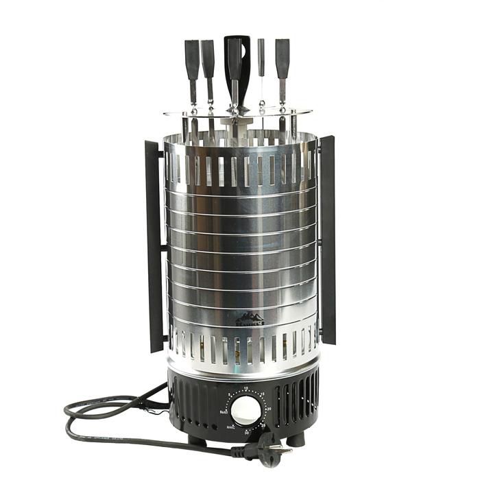 Электро шашлычница КАВКАЗ-4, 1000 Вт, 5 шампур, серебристый