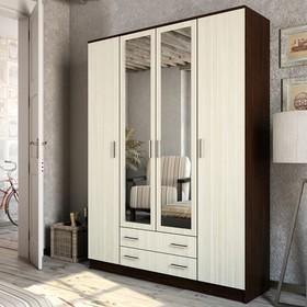 Шкаф 4-х дверный Квадро, Венге/Лоредо