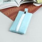 Ключница, отдел на молнии, металлическое кольцо, цвет голубой