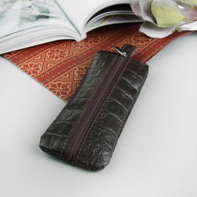 Ключница, отдел на молнии, металлическое кольцо, алладин-вакс, цвет тёмно-коричневый