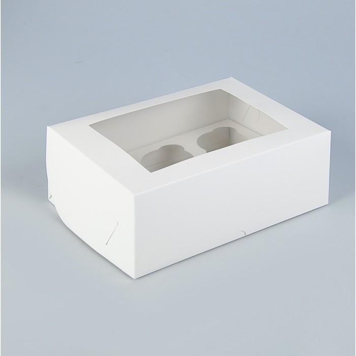 Коробка на 6 капкейков с окном, белая, 25 х 17 х 10 см - фото 308035393