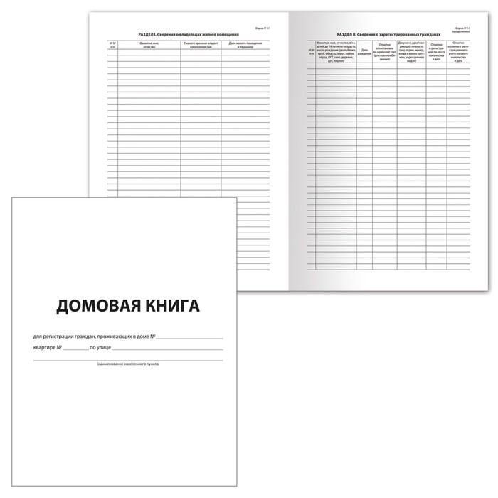 Книга домовая №11, А4, 12 листов BRAUBERG, картонная обложка, блок офсет