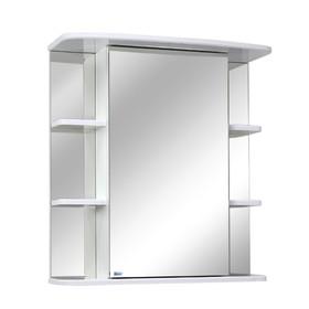 Шкаф-зеркало Родос 60 полочки по бокам Цвет: белый глянец