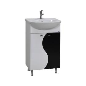 Тумба под раковину Соблазн 50 2 двери Цвет: белый глянец и чёрный металлик