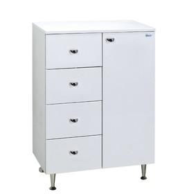 Комод Крит 60 4 ящика, 1 дверь Цвет: белый глянец 33 см х 60,4 см х 84 см