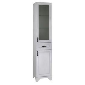 Пенал напольный Классик 40 1 ящик, 2 двери, стекло Цвет: белое дерево