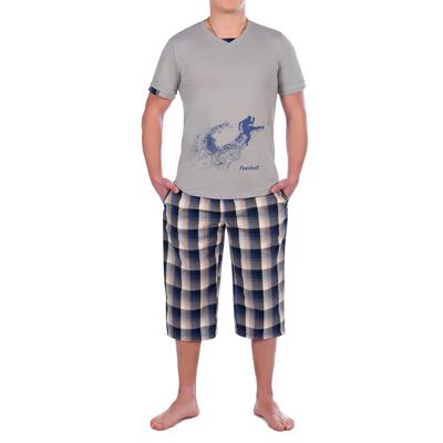 Комплект мужской (футболка, бриджи) 9.23 цвет серый, р-р 46