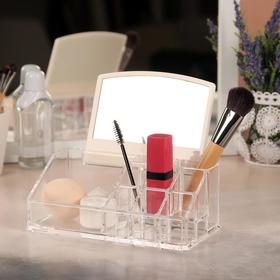 Organizer for storage of toiletries, mirror, 9 sections, color transparent
