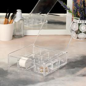 A container for storing cosmetics, with cap, 12 sections, color transparent