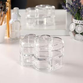 Box for storage of toiletries, with lid and drawer, 2 sections, color transparent