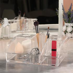 Органайзер для маникюрных/косметических принадлежностей, 10 секций, 2 крышки, 25,2 × 20,8 × 10 см, цвет прозрачный