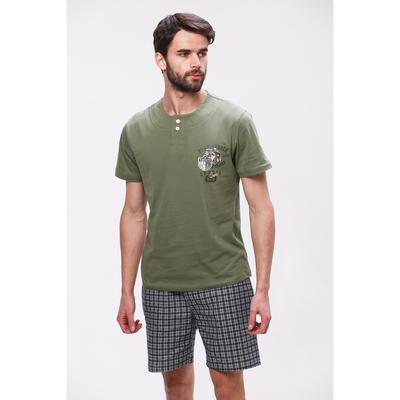 Комплект мужской (футболка, шорты) М-834-26 цвет зелёный, р-р 52