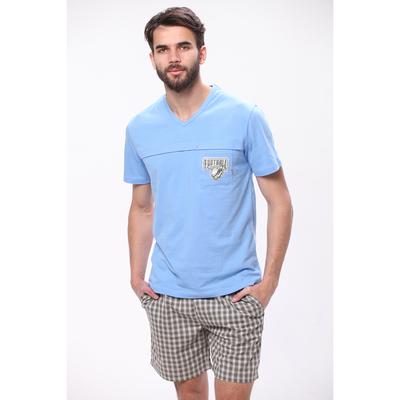 Комплект мужской (футболка, шорты) М-839-26 цвет голубой, р-р 48