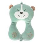 Подушка дорожная детская «Мишка» для шеи, цвет зелёный