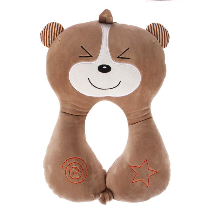 Подушка дорожная детская «Мишка» для шеи, цвет коричневый