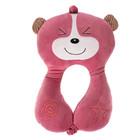 Подушка дорожная детская «Мишка» для шеи, цвет розовый