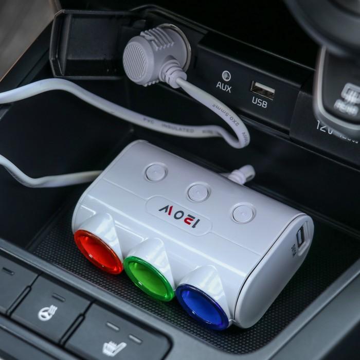 Разветвитель прикуривателя, 3 гнезда 2 USB с подсветкой, провод 60 см, белый
