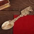 """Ложка с гравировкой сувенирная на открытке """"Лучший свекор"""" - фото 68923"""
