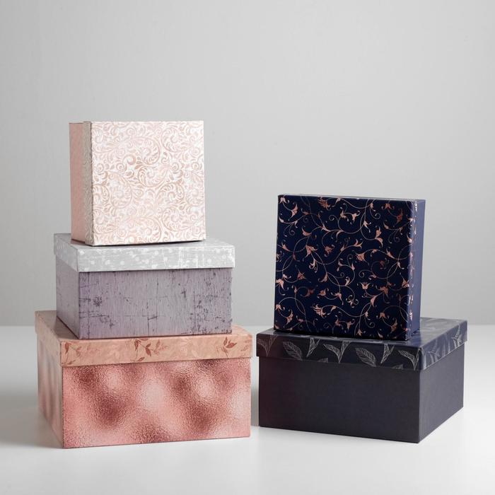 Набор подарочных коробок 5 в 1 «Паттерн», 22 х 22 х 12 – 14 х 14 х 8 см