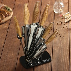 Набор кухонный, 6 предметов, 5 ножей 9/13/17/19/20 см, ножницы, на подставке, цвет светло-коричневый