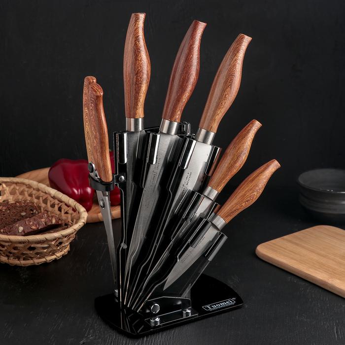 Набор кухонный, 6 предметов, на подставке, цвет коричневый
